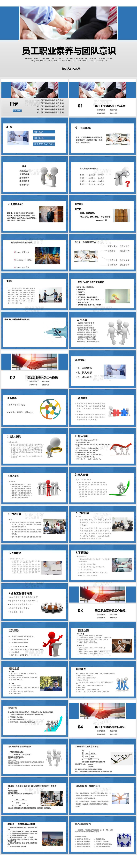 治素质和职业道德_商务培训简约商务员工职业素养与团队意识PPT模板-515PPT