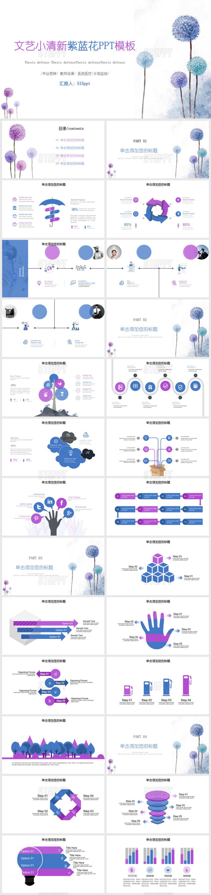 毕业答辩 教师说课 医药医疗计划总结文艺小清新紫蓝花PPT模板