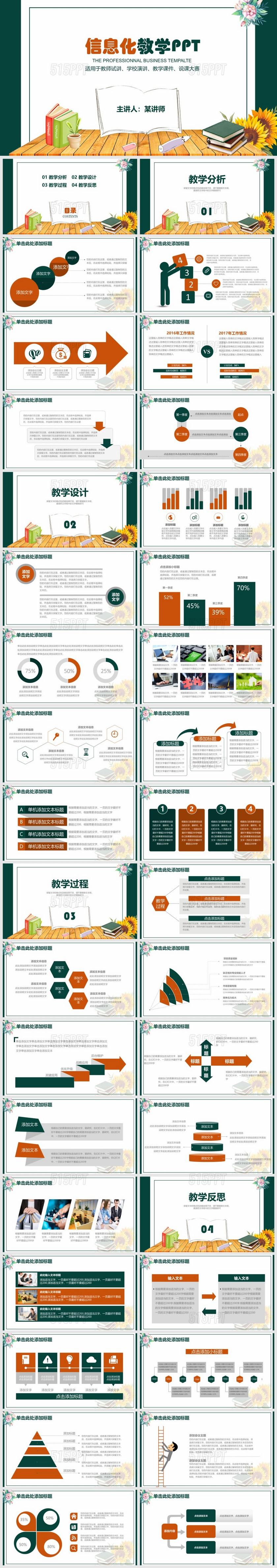 创意教育教学课件动态说课PPT模板